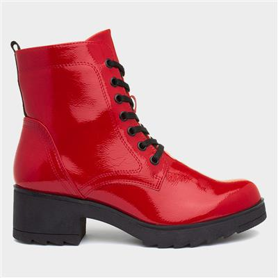 Womens Red Patent Lace Up Ankle Boot