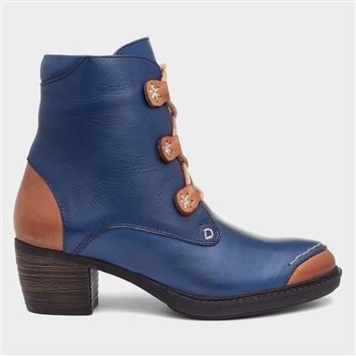 Remi Womens Navy Leather Ankle Boot