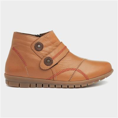 Fiona Womens Tan Leather Ankle Boot