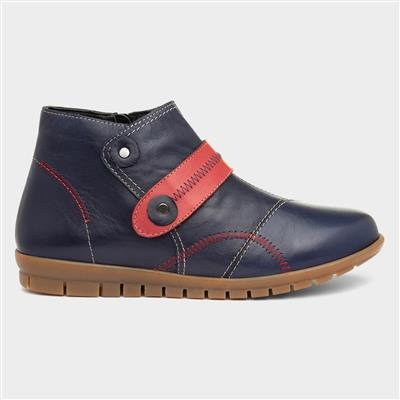 Fiona Womens Navy Leather Ankle Boot