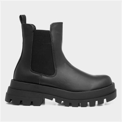 Violet Womens Black Chunky Chelsea Boot