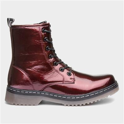 Womens Burgundy Crinkle Patent Ankle Boot