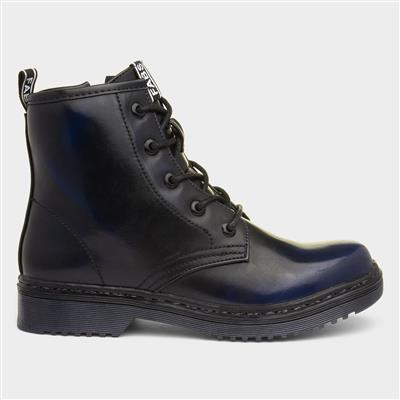 Womens Blue Shine Lace Up Ankle Boot