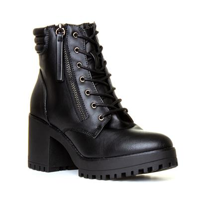 AAW2 Womens Black Lace Chunky Ankle Boot