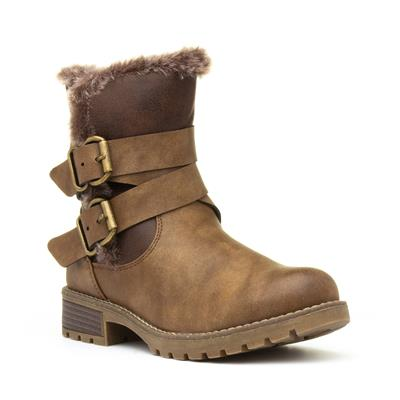Allura Womens Brown Faux Fur Ankle Boot