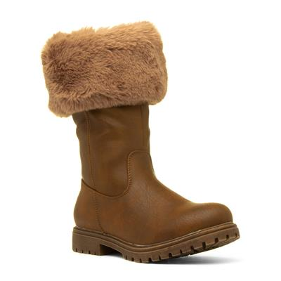 Becky Womens Brown Faux Fur Calf Boot