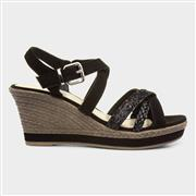 Lilley Womens Black Cross Strap Wedge Sandal (Click For Details)