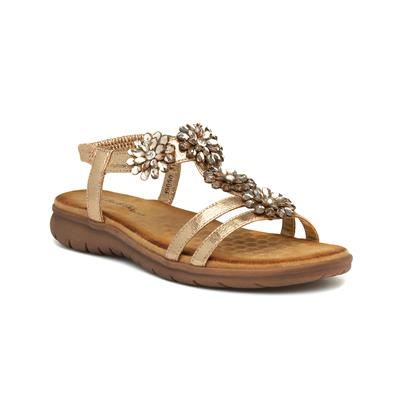 Womens Rose Gold Flat Sandal