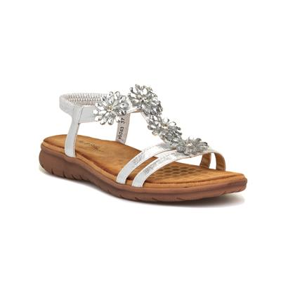 Womens Silver Floral Flat Sandal