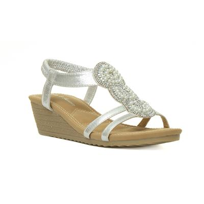 Womens Wedge Sandal in Silver