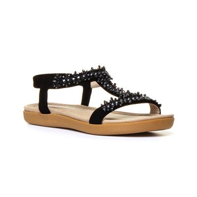Womens Black Diamante Flat Sandal