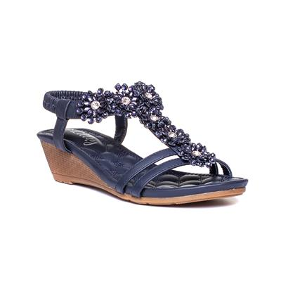 Womens Navy Wedge Strappy Sandal