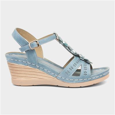 Womens Wedge Sandal in Blue