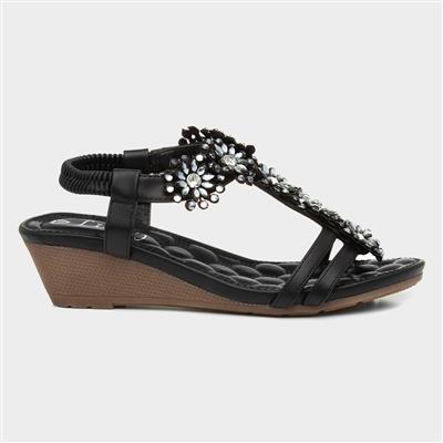 Womens Black Flower T-Bar Wedge Sandal