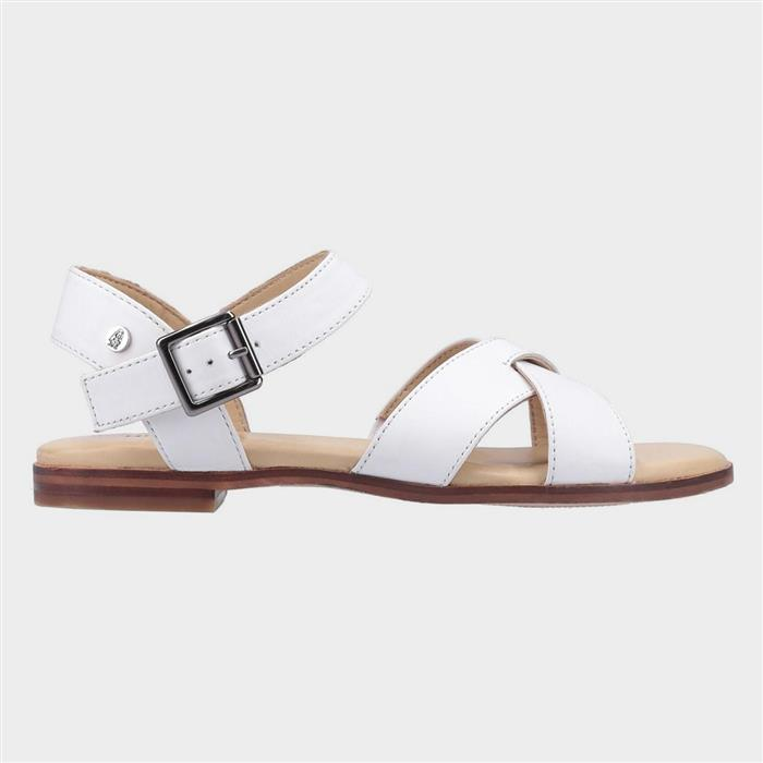 1950s Style Shoes | Heels, Flats, Boots Hush Puppies Lila Buckle Sandal in White £34.99 AT vintagedancer.com
