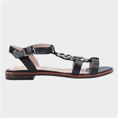 Lucia T-Bar Buckle Sandal in Black