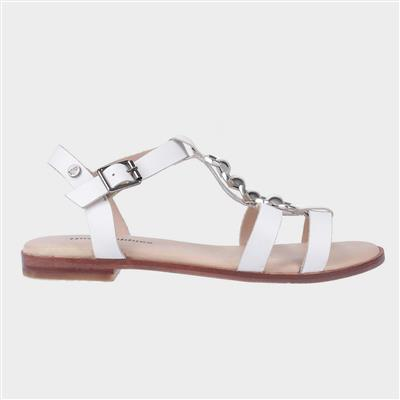 Lucia T-Bar Buckle Sandal in White