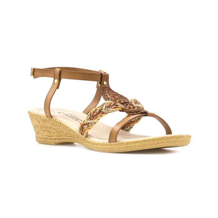 a3661e4e68e0 Softlites Womens Tan Laser Cut Wedge Sandal