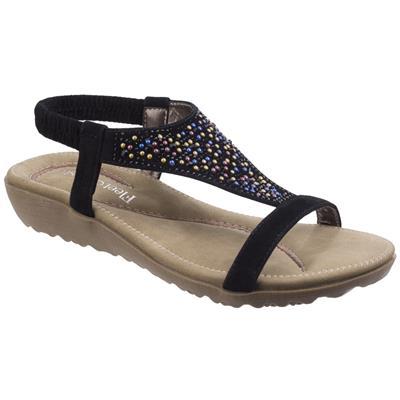 Womens Nicosia Black Leather Sandal