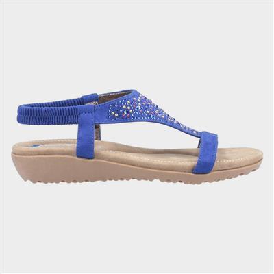 Womens Nicosia Blue Leather Sandal