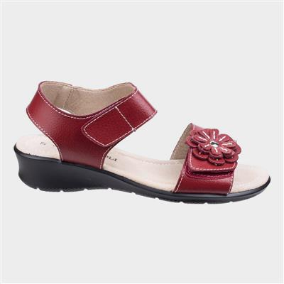 Womens Sapphire Red Leather Sandal