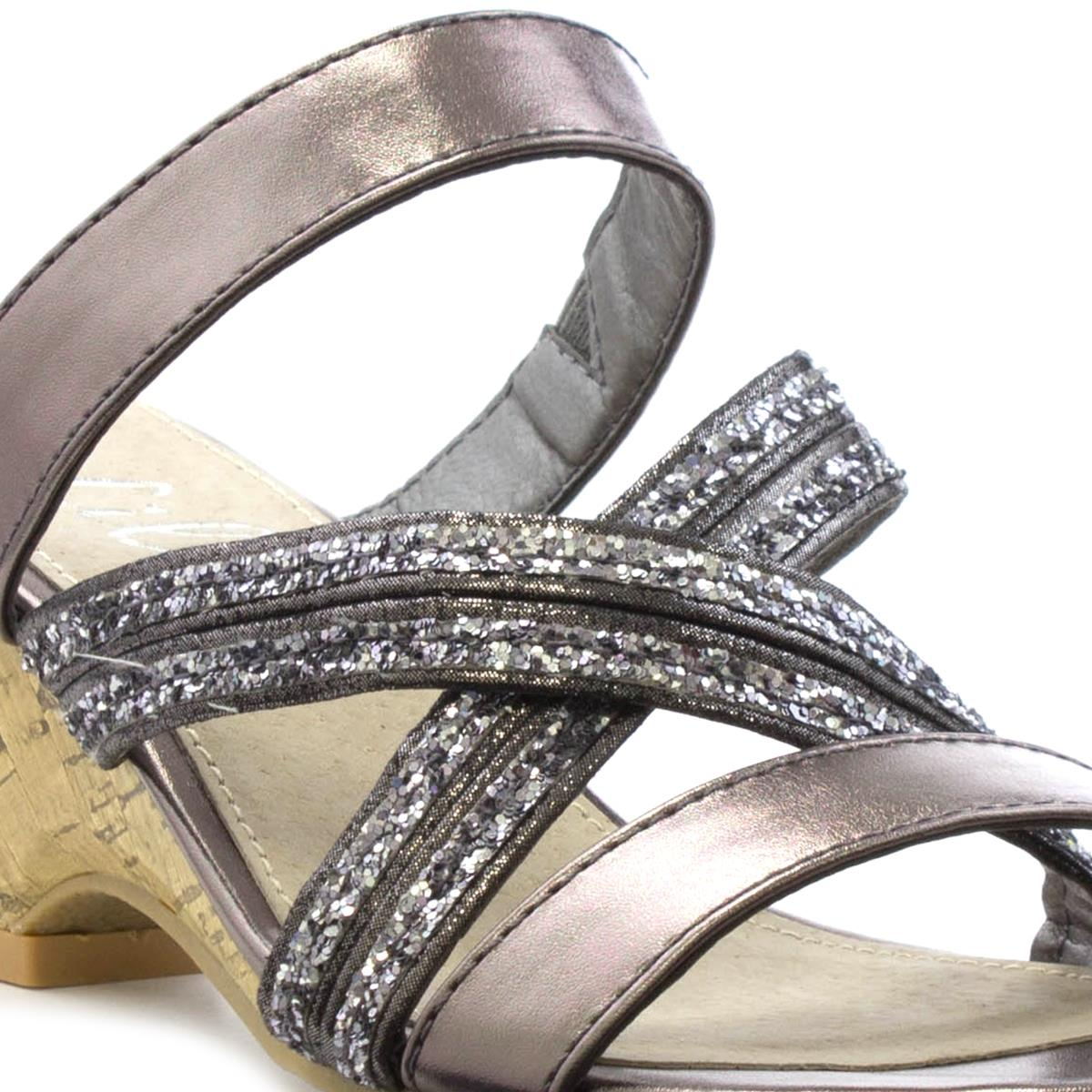 bf8adeccc72 Lilley Womens Pewter Cross Strap Wedge Sandal-19105