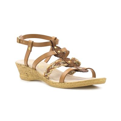 Womens Strappy Wedge Sandal in Tan