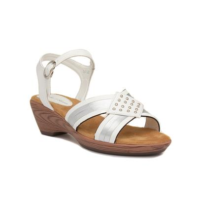 Womens Nude Floral Flat Sandal