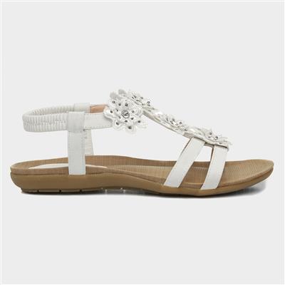 Womens White Flower Crochet Flat Sandal