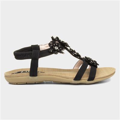 Womens Black Flower Crochet Flat Sandal