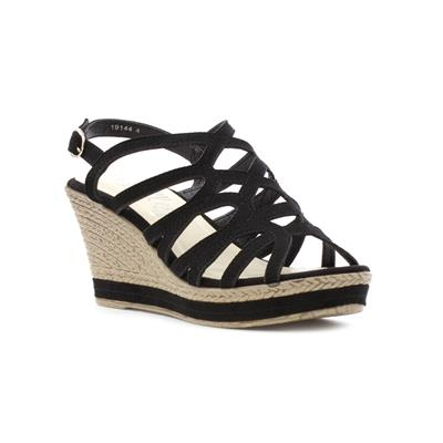 Womens Strappy High Wedge Sandal in Black