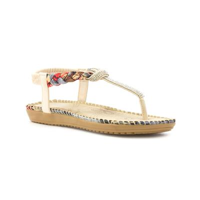 Womens Beige Diamante T-Bar Comfort Sandal