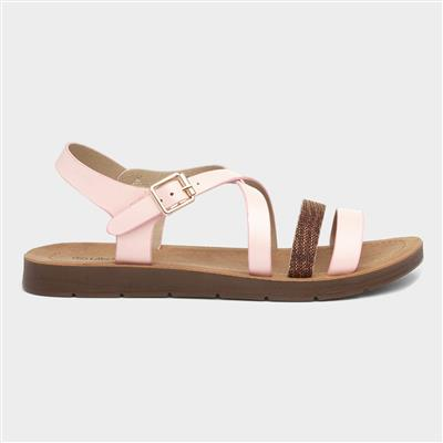 Womens Pink Strappy Sandal