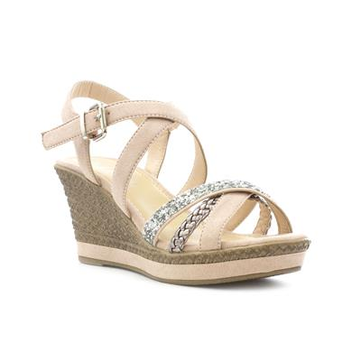 Womens Nude Cross Strap Wedge Sandal