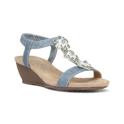 Womens Denim Floral Wedge Slip On Sandal