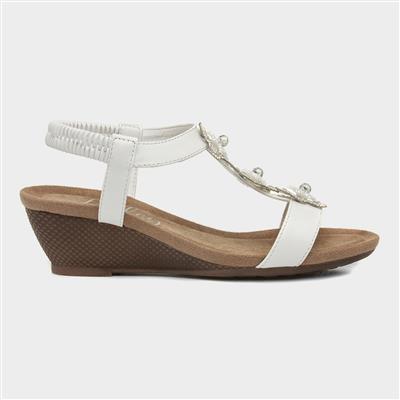 Womens White Floral Wedge Sandal
