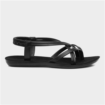 Womens Black Flat Slip On Sandal