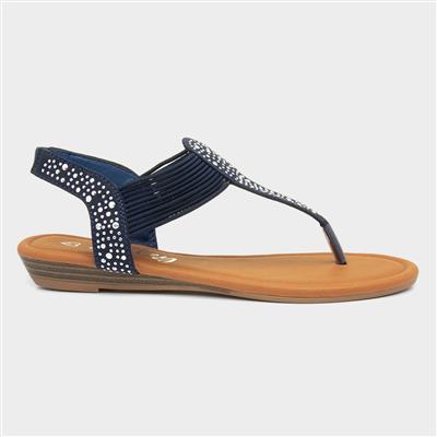 Womens Navy Studded Toe Post Sandal