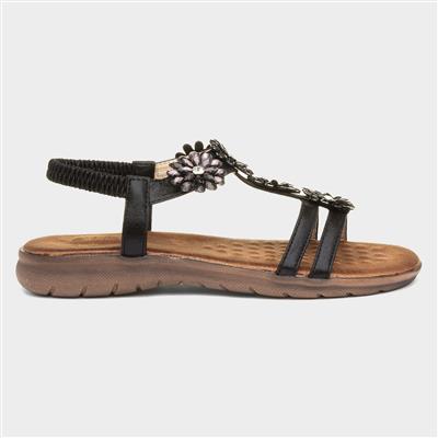 Womens Black Floral Sandal