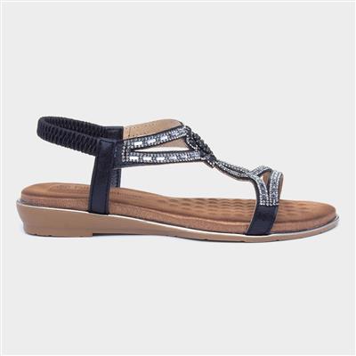 Womens Black Beaded Sandal