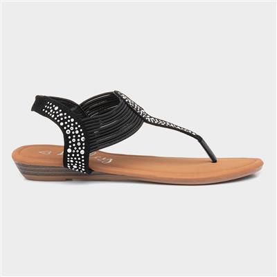 Womens Black Studded Toe Post Sandal