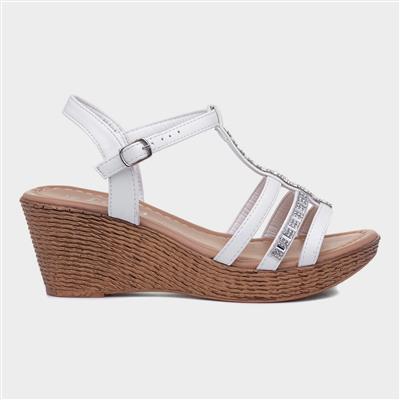 Womens White Diamante Open Toe Wedge Sandal