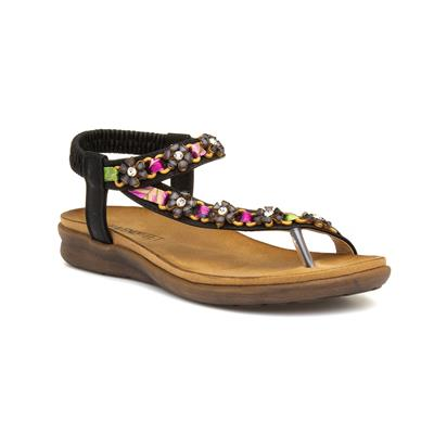 Gisela Womens Black Toe Post Sandal