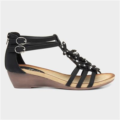 Womens Black Wedge Sandal with Flowers