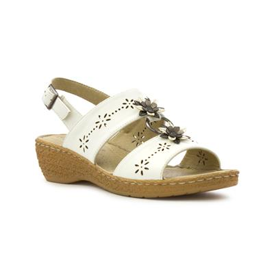 Womens White Wedge Comfort Sandal