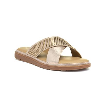 Fifi Womens Gold Cross Strap Mule Sandal