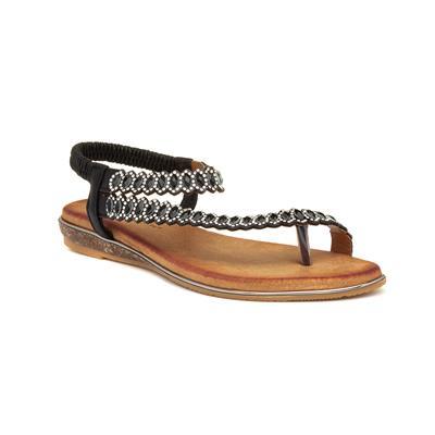 Novella Womens Black Flat Sandal