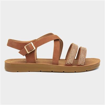 Womens Tan Strappy Flat Sandal