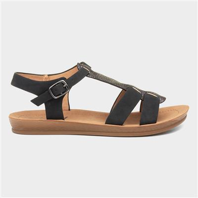 Womens Black Strappy Flat Sandal