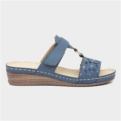 Womens Blue Wedge Easy Fasten Sandal